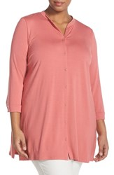 Plus Size Women's Eileen Fisher Lightweight Jersey Mandarin Collar Tunic