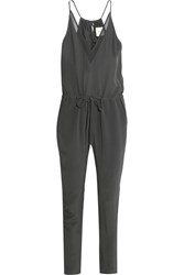 Mason By Michelle Mason Chiffon Paneled Silk Georgette Jumpsuit Gray