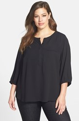 Plus Size Women's Nydj Henley Top Black