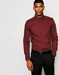 Asos Smart Shirt In Long Sleeve Red