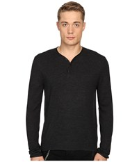 The Kooples Officer Collar Pullover W Placket Grey Men's Long Sleeve Pullover Gray
