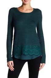 Lucky Brand Lace Mix Sweater Blue