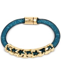 Betsey Johnson Gold Tone Blue Crystal Mesh Filled Bracelet Multi