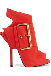 Giuseppe Zanotti Buckled Nubuck Ankle Boots Red