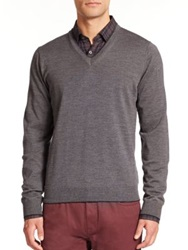 Saks Fifth Avenue Merino Wool V Neck Sweater Burgundy Charcoal