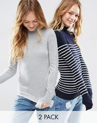 Asos Jumper With Turtle Neck In Stripe In Soft Yarn 2 Pack Save 20 Multi