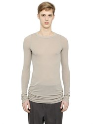 Rick Owens Ribbed Viscose And Silk T Shirt