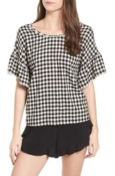 Moon River 'S Twist Back Top Black Gingham