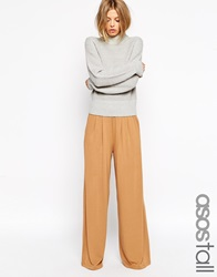 Asos Tall Wide Leg Trousers In Jersey Camel
