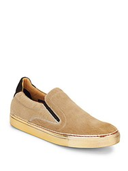 Robert Graham Rolo Calf Hair And Leather Slip On Sneakers Camel