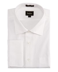 Neiman Marcus No Iron French Cuff Pinpoint Shirt White