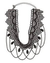 Berry Jewelry Crocheted Chain Statement Choker Black