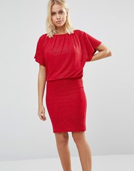 B.Young Draped Top Red Dress Crimson Red