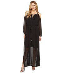 Calvin Klein Solid Keyhole Maxi Black Women's Dress