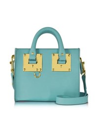 Sophie Hulme Aqua Albion Saddle Leather Box Tote Bag