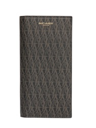 Saint Laurent Monogram Faux Leather Wallet Brown