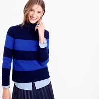J.Crew Collection Italian Cashmere Ribbed Turtleneck In Stripe