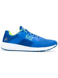 Emporio Armani Ea7 Logo Print Mesh Sneakers Polyester Synthetic Resin Rubber Blue