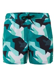 Topman Green And Black Print Swim Shorts