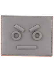 Fendi Frowning Card Holder Men Leather One Size Grey