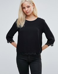B.Young Hessio Blouse With Lace Trim Black 80001