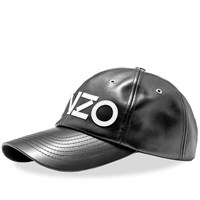 Kenzo Leather Logo Cap Black