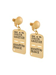 Jean Paul Gaultier Vintage Army Dog Tag Earrings Yellow And Orange