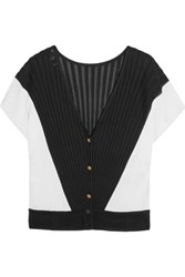 Vionnet Color Block Ribbed Knit Cardigan Black
