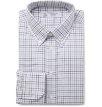 Turnbull And Asser Blue Button Down Collar Checked Cotton Twill Shirt