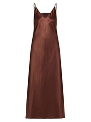 Joseph Clea V Neck Satin Slip Dress Brown