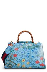 Gucci Large Nymphaea New Flora Print Leather Top Handle Tote Blue Azure Floral