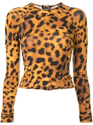 The Upside Leopard Print Wetsuit Top Brown
