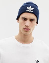Adidas Originals Trefoil Logo Beanie In Navy Bk7639 Blue
