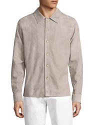 Corneliani Long Sleeve Suede Shirt Jacket Light Grey