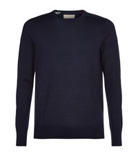 Burberry Cashmere Check Trim Jumper Male Navy