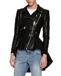 Alexander Mcqueen Leather Moto Peplum Jacket Black