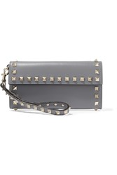 Valentino The Rockstud Wristlet Leather Wallet Gray