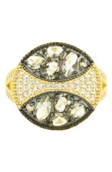 Freida Rothman Rose Dor Cocktail Ring Black Gold