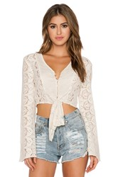 Band Of Gypsies Tie Front Crop Top Ivory