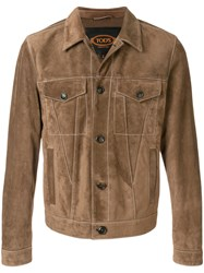 Tod's Suede Trucker Jacket Brown