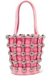 Alexander Wang Roxy Mini Studded Suede Trimmed Leather Tote Pink