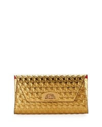 Christian Louboutin Vero Houndstooth Embossed Clutch Bag Gold