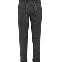 Club Monaco Charcoal Cuffed Cotton Trousers Black