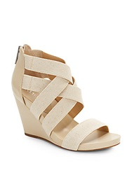 Bcbgeneration Bruce Faux Leather And Canvas Wedge Sandals Natural