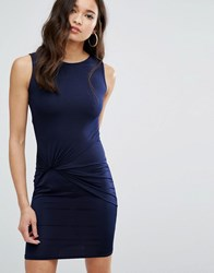 Girls On Film Mini Dress With Knot Front Navy