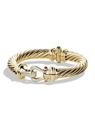 David Yurman Cable Classics Buckle Bracelet With Emerald Ruby And Diamonds In 18K Gold