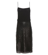 Isabel Marant Zim Silk Slip Dress With Coated Skirt Black