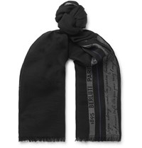 Berluti Silk Wool And Cashmere Blend Jacquard Scarf Black