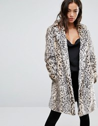 New Look Faux Fur Leopard Print Coat White Pattern