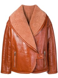 Drome Oversized Collar Shearling Jacket Brown